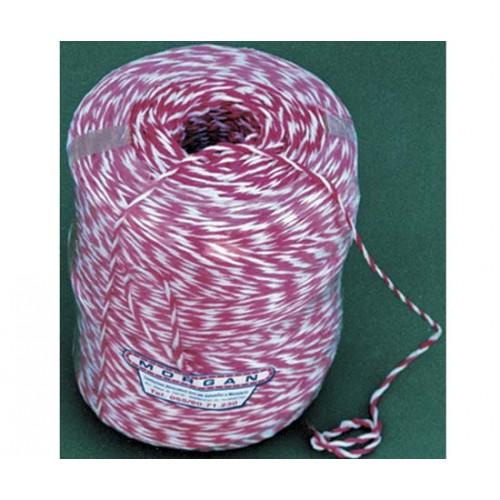 Cordetta sintetica in polipropilene ritorto, bianco e rosso, grosso, tit. 2/800, diametro mm 3, bobine termo da Kg 4 circa.