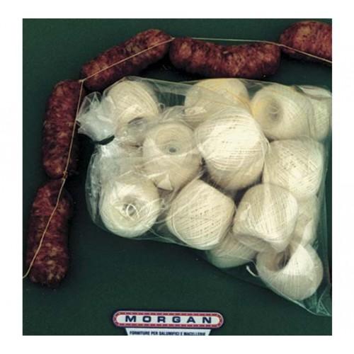 Palline di spago per salsiccia colore bianco/crema st, in sacchi da Kg. 1.