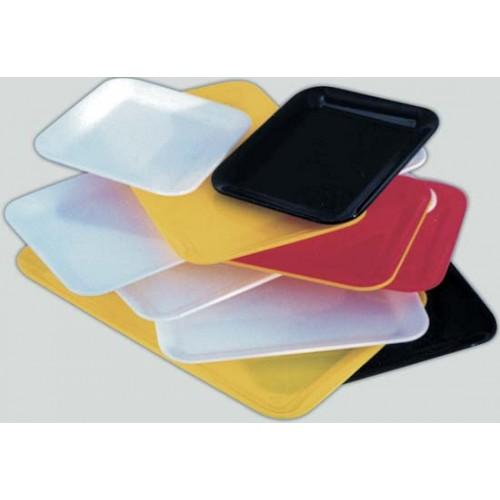 Vassoi metalcrilato ricavati da lastra intera, colorati, per supermercati e macellerie, a norme, certificati per alimenti, prezzi cadauno.