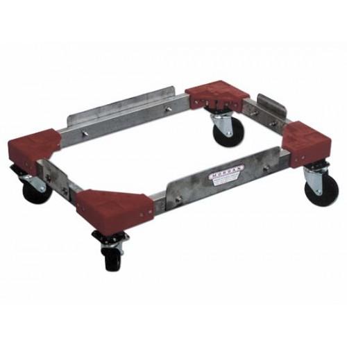 Portaceste inox a carrellino per celle frigo, con alzate laterali e ruote nere con supporto zincato.