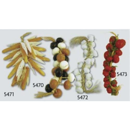 Grappoli finti di frutta e verdura in plastica