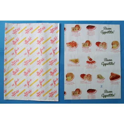 """Carta accoppiata con polietilene PEHD, con disegni standard, per involgere, con stampa """"buon appetito"""", cartoni da kg 10."""