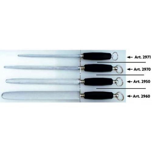 Acciaini Morgan inox professionali, cromizzati e magnetizzati, rigatura normale, con manico in plastica nero, alta qualità.