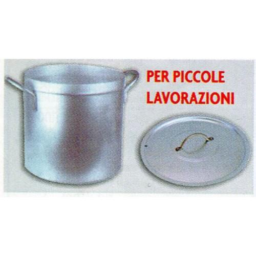 Pentola in alluminio con coperchio e cestello, per cottura testa di maiale e pomodori.