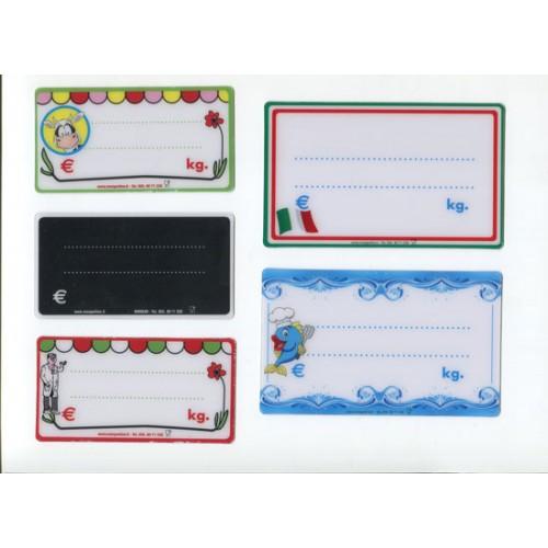 Segnaprezzi tricolore italiano o colorati, per macellerie, supermercati, salumerie, negozi di prodotti alimentari, pescherie ecc.