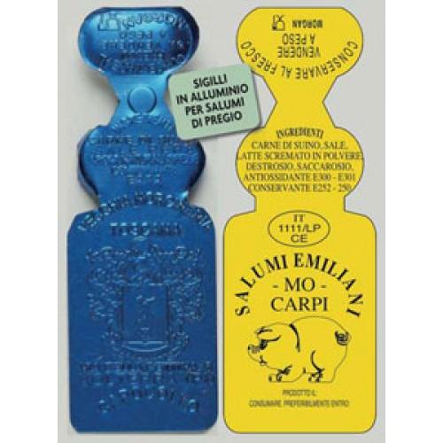 Sigilloni per salumi mm 86x30, personalizzati, stampati in rilievo senza inchiostri di stampa. Pertanto idonei ad andare anche a diretto contatto con l'alimento.