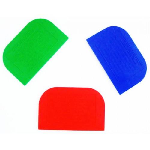 Spatole o raschietti in plastica cm 15xH9,5, personalizzati con logo, disegno e scritte pubblicitarie, per industrie alimentari; da dare in omaggio ai propri clienti.