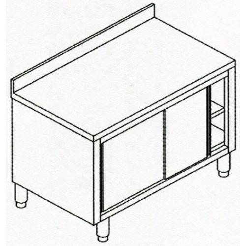 Tavoli armadiati in acciaio inox aisi 304 con ante scorrevoli ed alzatina per ristoranti e - Tavoli acciaio inox prezzi ...