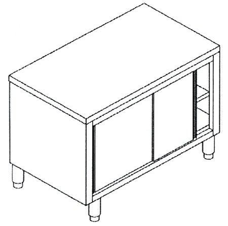 Tavoli inox in acciaio inox AISI 304 armadiati con ante scorrevoli - PREZZI DA SCONTARE ...