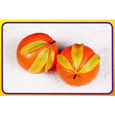2 arance giganti con foglie, finte, mm 175 (prezzi per 1 confezione da 2 arance giganti con foglie)