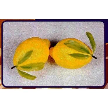 2 limoni giganti con foglie finti mm 150x260 (prezzi per 1 confezione da 2 limoni giganti con foglie)
