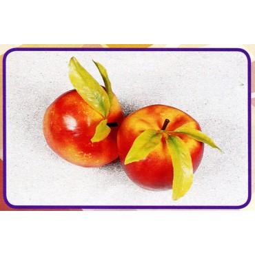 2 mele giganti con foglie, finte, mm 150 (prezzi per 1 confezione da 2 mele giganti con foglie)