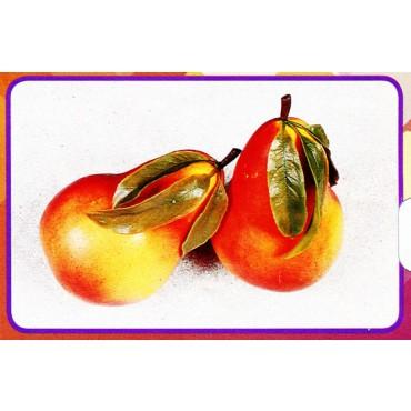 2 pere giganti con foglie, finte, mm 150x250 (prezzi per 1 confezione da 2 pere giganti con foglie)