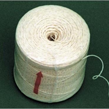 Spago in canapa naturale bianca crema, qualità extra, tit. 2/8, per macchine legatrici tipo OMET, confezioni bobinette da grammi 150 circa, prezzi per pacchi da Kg. 1.