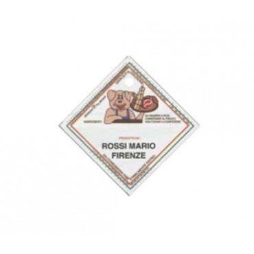 Etichette in plastica alimentare Morgan cm 6x6, personalizzate con il vostro nome, con foro.