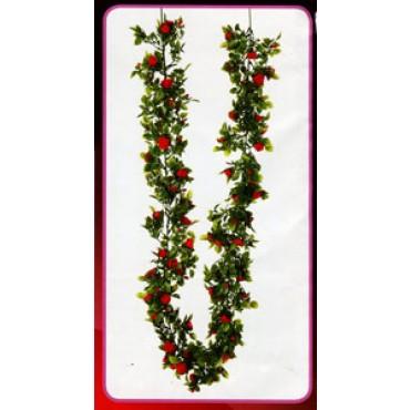 Ghirlanda di rose rosse, finta, cm 180, prezzo per 1 pezzo.
