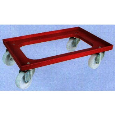 Pianetta in plastica nylon con foro centrale, completa di ruote girevoli in nylon con supporto zincato, da mm 600x400.