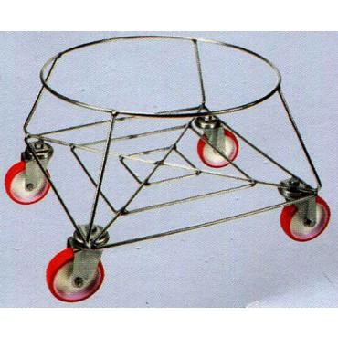 Porta bidone in filo inox 18/8, completi di ruote girevoli in nylon diametro 100 con supporto inox.