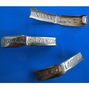 Sigilli in banda d'acciaio stagnata mod. 48 AUT. mm 33x8, per chiusura sacchetti senza legatura.