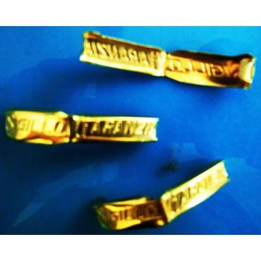 Sigilli di garanzia dorati-ottonati-lucidi per chiusura sacchetti grandi senza legatura, mm 10x55 Mod. 55 AUTOMATICO.