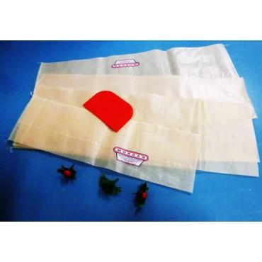 Budello sintetico Fibrous già forato, con chiusura cucita diritta a sacchetto, per salumi insaccati. Certificato per alimenti.