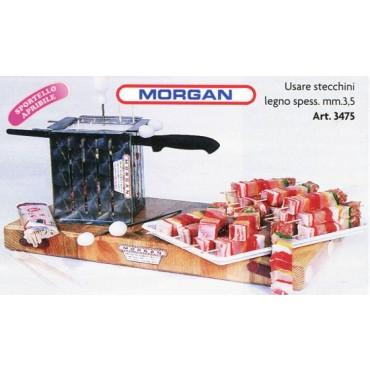 Macchinette per spiedini o tagliaspiedini professionali, in acciaio inox AISI 304-18/10 amagnetico, CON SPORTELLO APRIBILE e regolazione dell'altezza. Fabbricate dalla Morgan per macellerie, salumifici, supermercati - l'ultimo prezzo è da scontare del 5%.