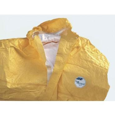 Tuta gialla con cappuccio in tela plastificata