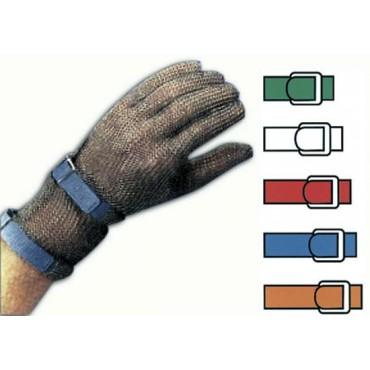 Guanto antitaglio protettivo in maglia inox, con polsino di mm 80.