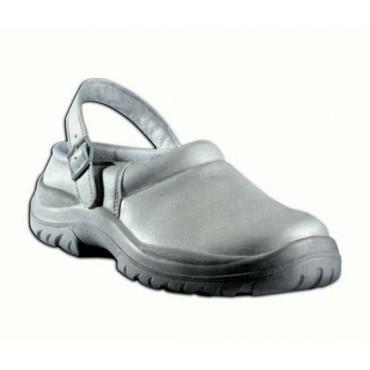 Scarpe bianche con cinturino, con puntale antinfortunistico, mod. Sabot, prezzi per 1 paio.