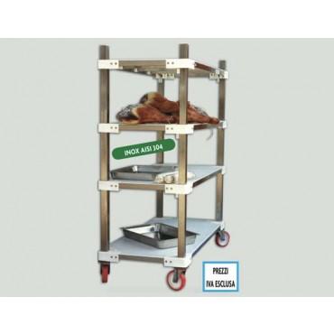 Scaffalature inox per supermercati, macellerie, salumifici, industrie alimentari, con ruote inox AISI 304, altezza cm. 170.
