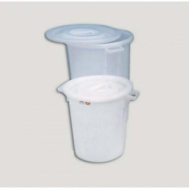 Bidone in plastica bianco con coperchio