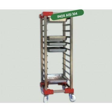 Carrello portavassoi-contenitori a 12 vani mod. Supermarket per supermercati, cm 55x70xH165. Per contenitori cm 60x40xH8.