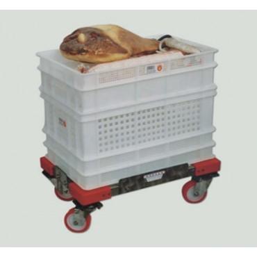 Pianale a carrellino inox con alzate laterali e ruote rosse con supporto inox antisale
