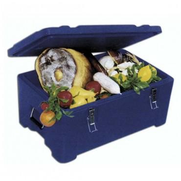 Contenitore isotermico coibentato con apertura superiore, per il trasporto di prodotti e pasti caldi freschi e surgelati, a temperatura controllata.
