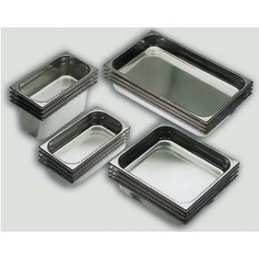 Teglie e vaschette Gastronorm in acciaio inox 18/10 AISI 304, per forni a convenzione, per ristorazione, per gastronomia.