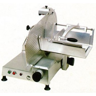 Affettacarne Morgan per carne e salumi CE.O.M.S. lama diametro mm 370, trifase 380, con carro gigante - Trancheur electrique vertical - Vertical electric slicing machine.
