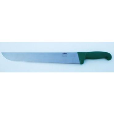 Coltelli inox ALCE Made in Italy, manico verde, da banco o da fette, mod. stretto.