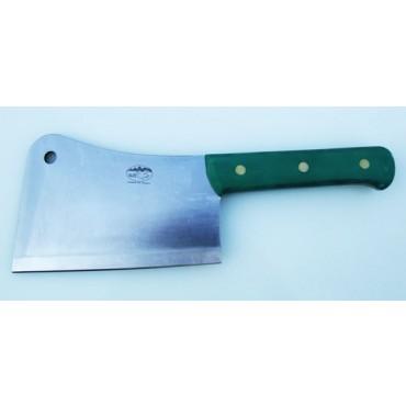 Mannaia inox ALCE Made in Italy, manico verde, per ossi classica, lama cm 20, peso kg 1,00.