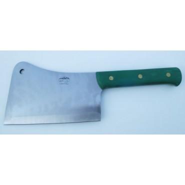 Mannaia inox ALCE Made in Italy, manico verde, per ossi classica, lama cm 22, peso kg 1,30.