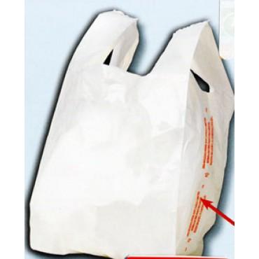 "Shopper generici plasticone PE bianchi, ""Porta la spesa"", pesanti, riutilizzabili; spessore 100 MY. Per le grandi spese."