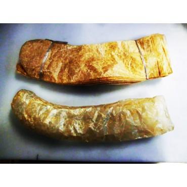 Budelli collati cinesi curvi a forma di zucchetta, caps, bondiana, tasconi, per salami, prodotti con budelli naturali seccati e incollati, prezzi per confezioni da pezzi 100 - 50 - 5.