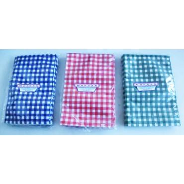 Buste sottovuoto per alimenti a scacchi bianchi e rossi, bianchi e blu, bianchi e verdi, tovagliate, spessore 95/150 MY di vari colori, per salumi, affettati e carni.