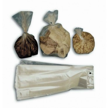 Buste a sacchetto con soffietto trasparenti a strappo, da appendere, in PE LD, scatole da kg 10.