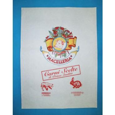Carta accoppiata per macelleria, certificata, per involgere, con stampa generica macelleria, in cartoni da kg 10.