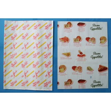 """Carta accoppiata con polietilene PEHD per involgere, con stampa """"buon appetito"""", cartoni da kg 10."""
