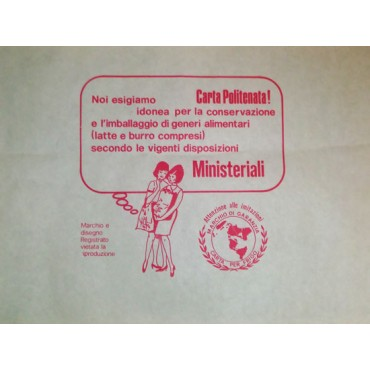 Carta politenata gr 45+PE per involgere, con stampa generica, per supermercati e macellerie - Certificato Ministeriale, cartoni da kg 10.