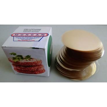 Dischi o veline per hamburger in cellophane certificato per alimenti, trasparente tipo IMP gr 60 e PT, per hamburgerie, paninerie, supermercati e macellerie.