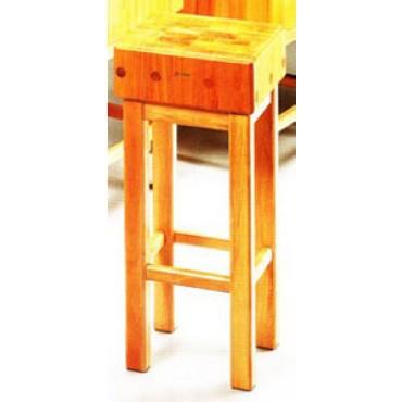 Ceppi per macelleria in legno di acacia e robinia spessore cm 15, con sgabello in legno. Altezza totale ceppo + sgabello cm 90.