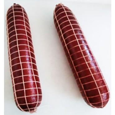 2 salami o salsicce finte, grandi, colore violetto, con rete, lunghe cm 40, diametro cm 9, prezzi per 2 pezzi.