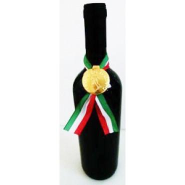 """Sigilli per vino, olio, aceto e liquori, tondi grandi in alluminio mm 36x78, neutri non personalizzati, con disegno in rilievo dell'Italia e stampa """"PRODOTTO ITALIANO""""."""